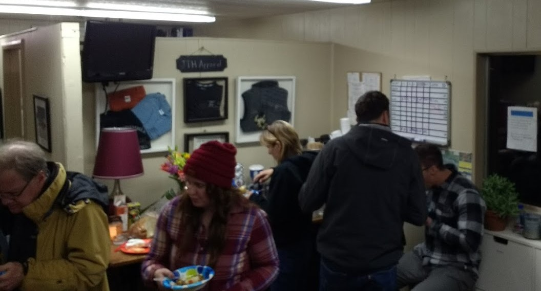 Student pilots, CFI's and family enjoying Elk Stew prepared by Alison & Jerry.