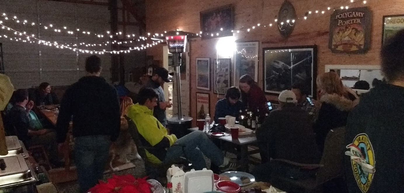 """December 2016 JTH Christmas Party hosted by Alison & Jerry at """"the barn."""" One big family- students, CFI's, family members....."""