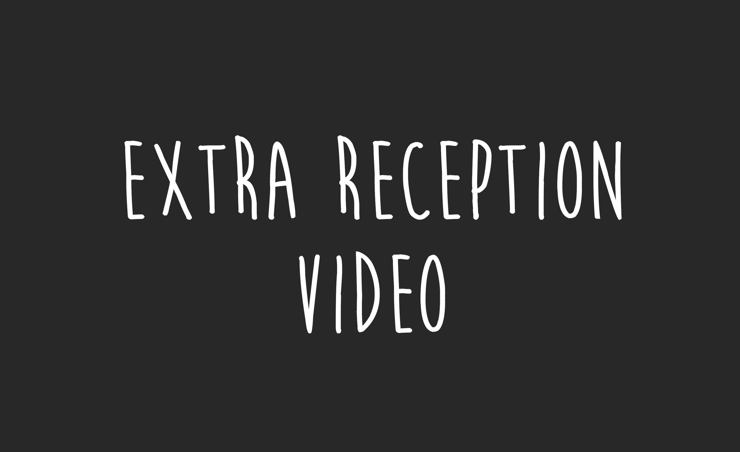 $400 - After every wedding, there's a lot of really great footage that doesn't quite make the cut to appear in your highlight film. This is a chance to see that extra, unused reception footage in its own short video, edited to more music.