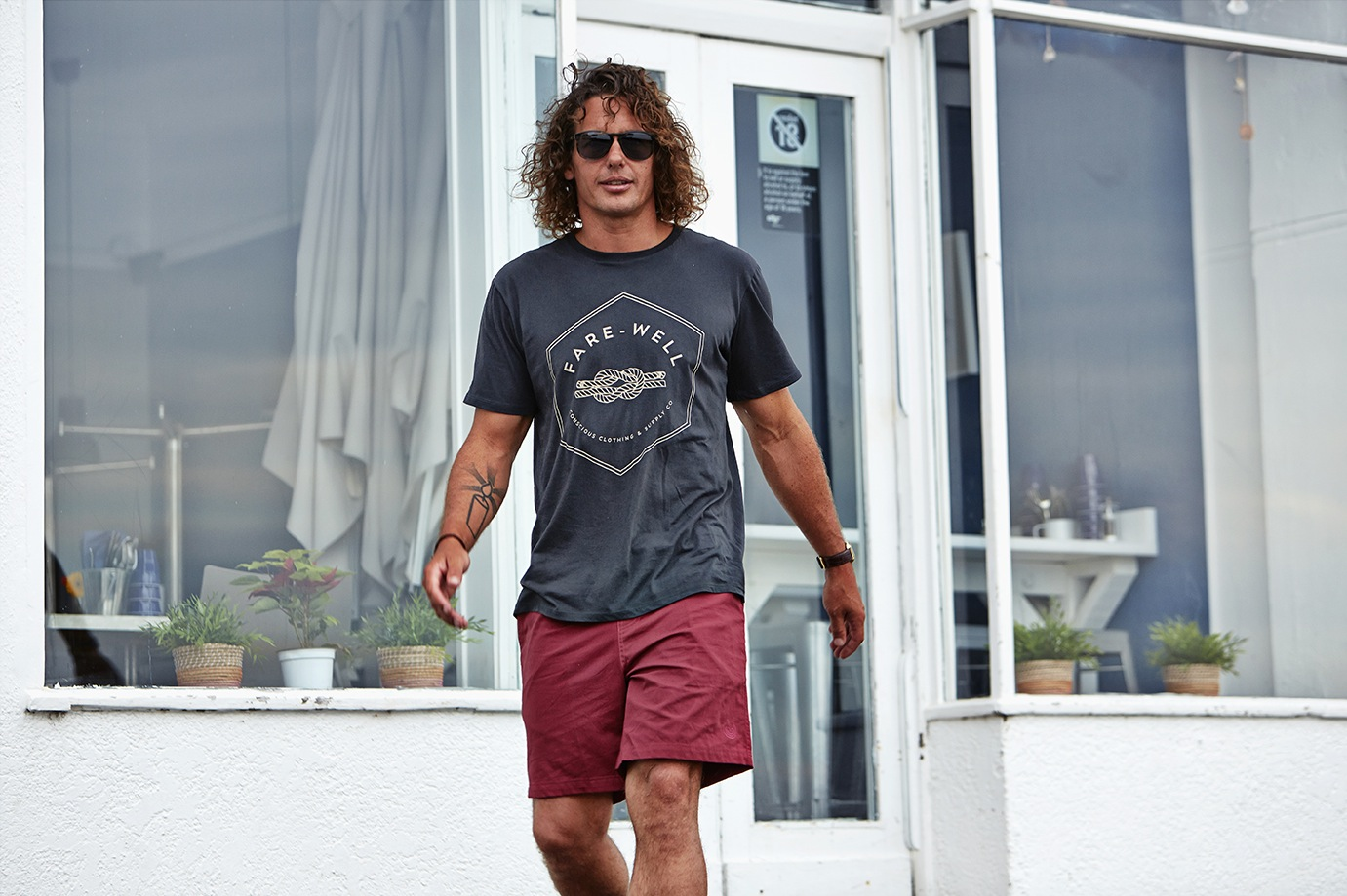 Hold Fast Tee by  Fare Well Co   Plain Plum Boardshorts by   Smile Clothing   Wynne Sunglasses by  Oscar Wylee