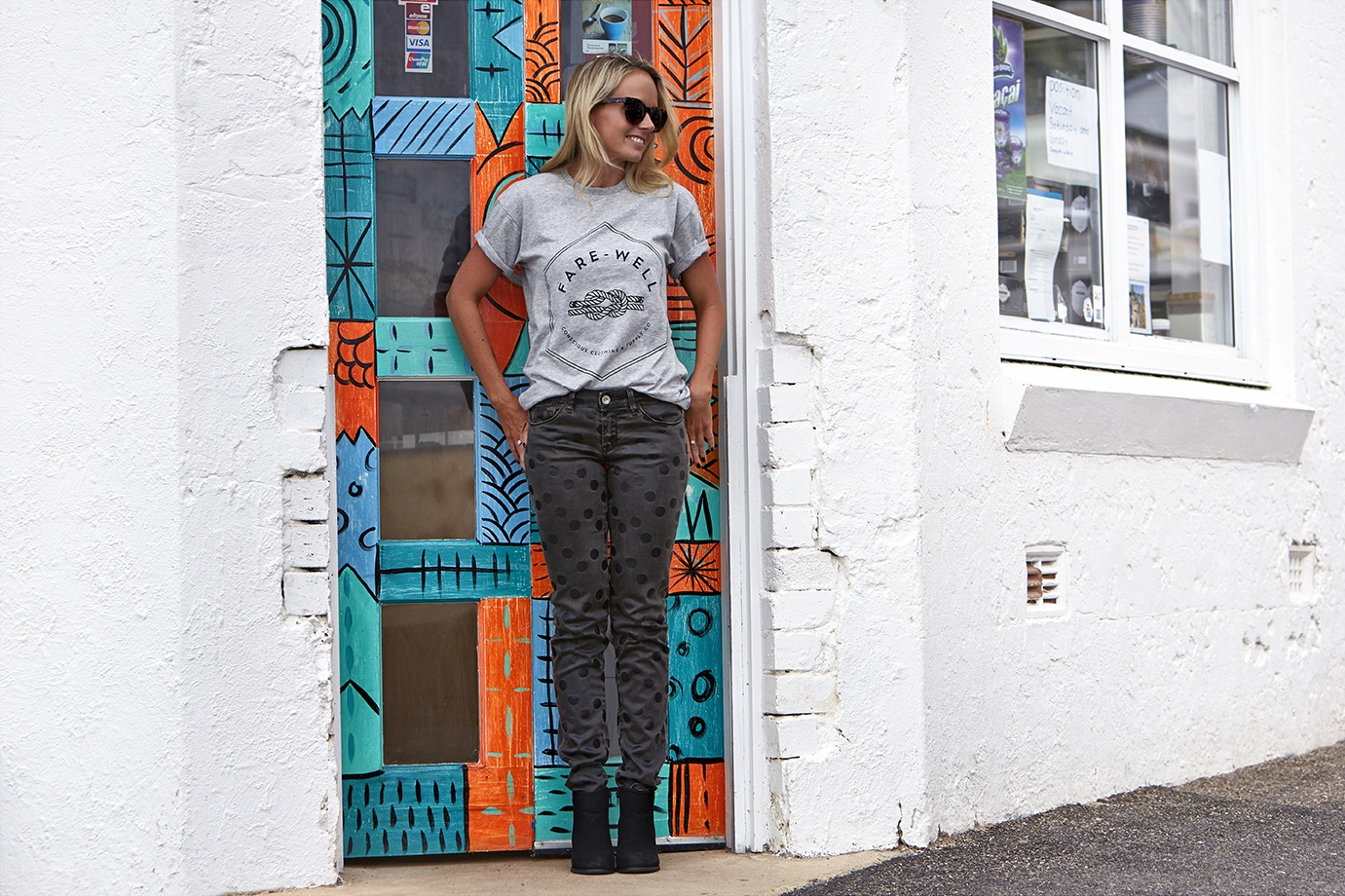 Hold Fast Tee by  Fare Well Co   Poke-a-dot Jeans by  Haikure    Gypsy Eyes Sunglasses by  Oscar Wylee