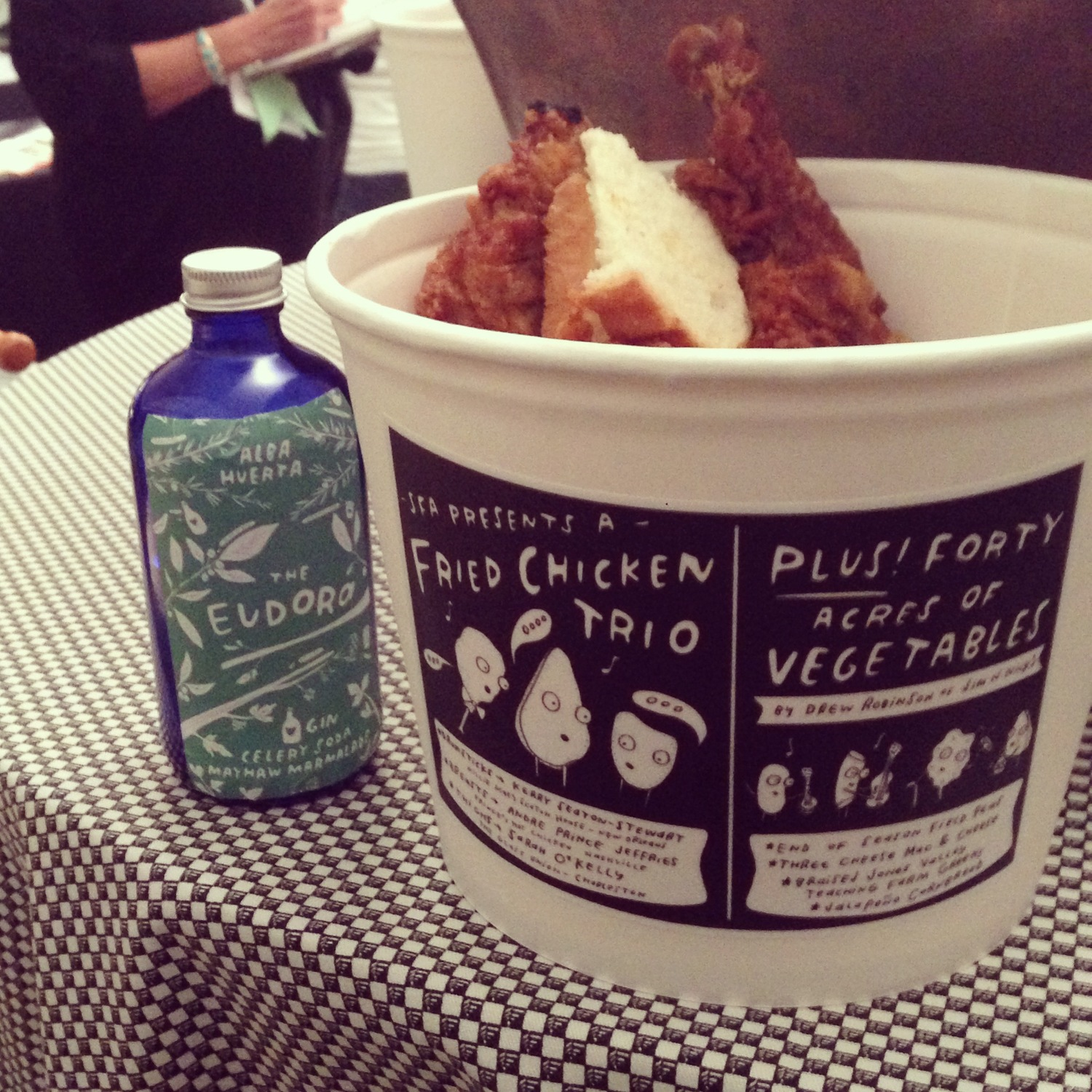 Chicken bucket + flask labels for the 16th symposium of the  Southern Foodways Alliance