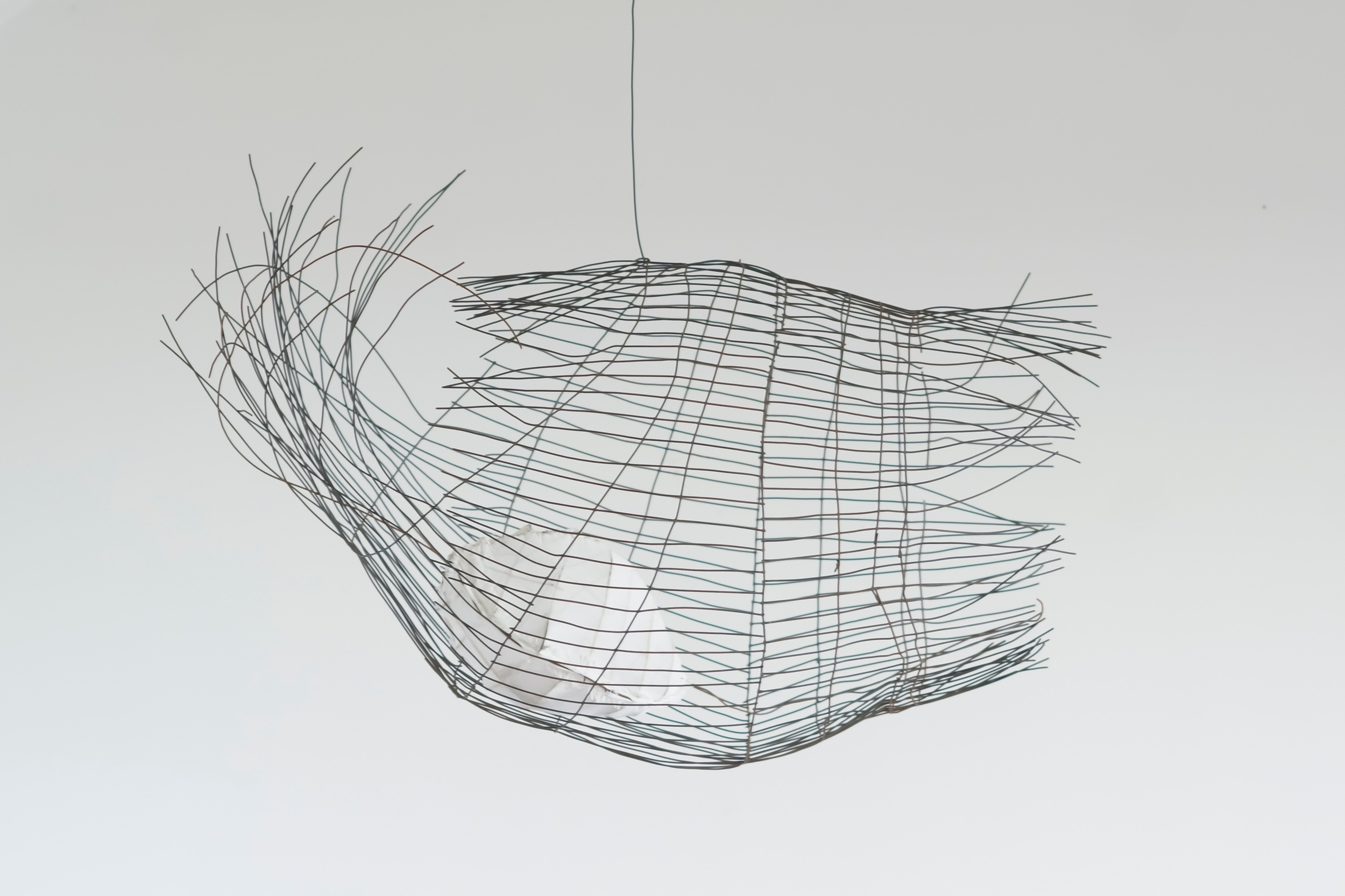 """Floating Cage,  2013  Steel, Fabric, Wood, Paint,30"""" x 22.5"""" x 12.5"""""""