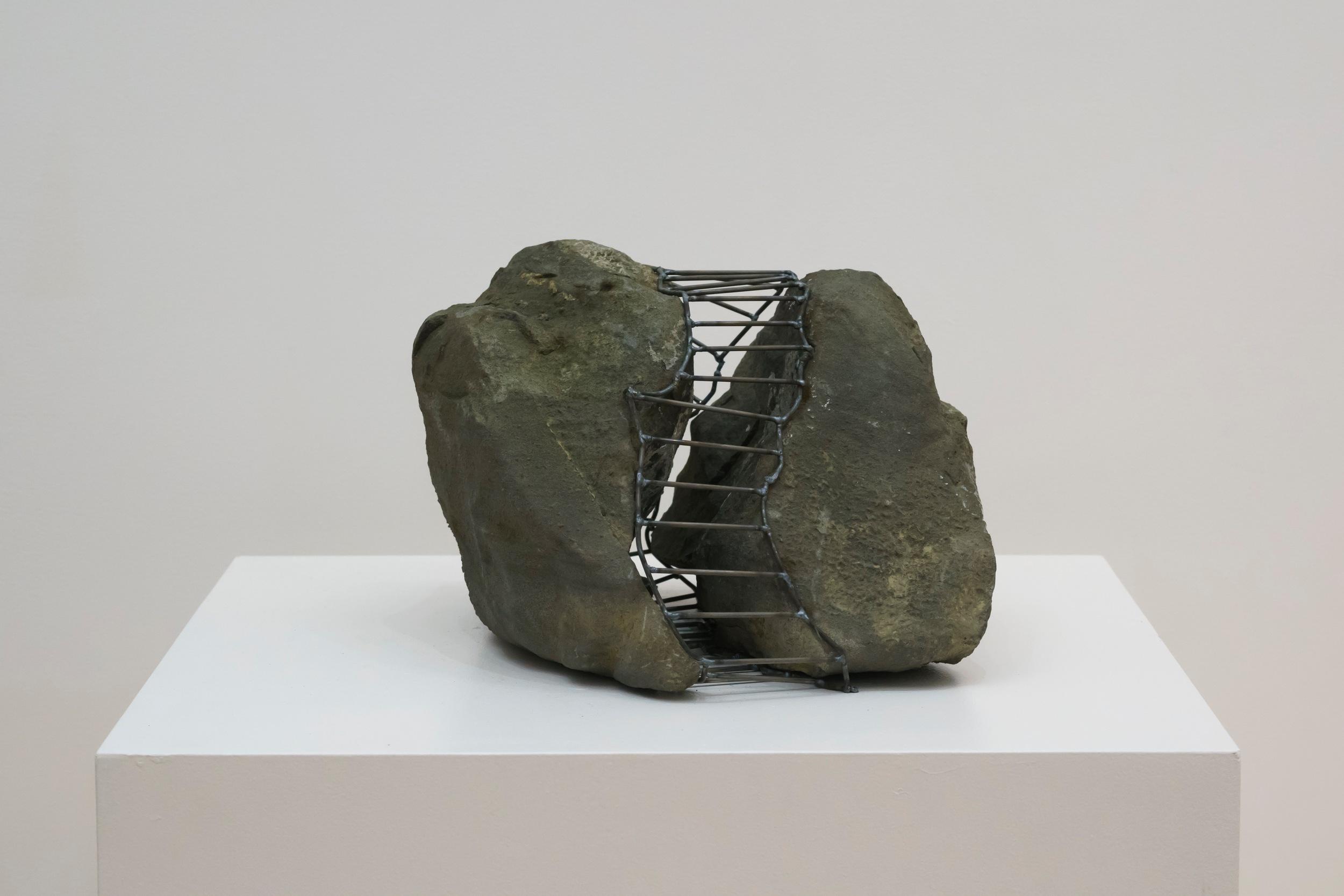 """Rock Cage: Between,  2015  Steel, Fieldstones 11"""" x 13"""" x 14"""""""