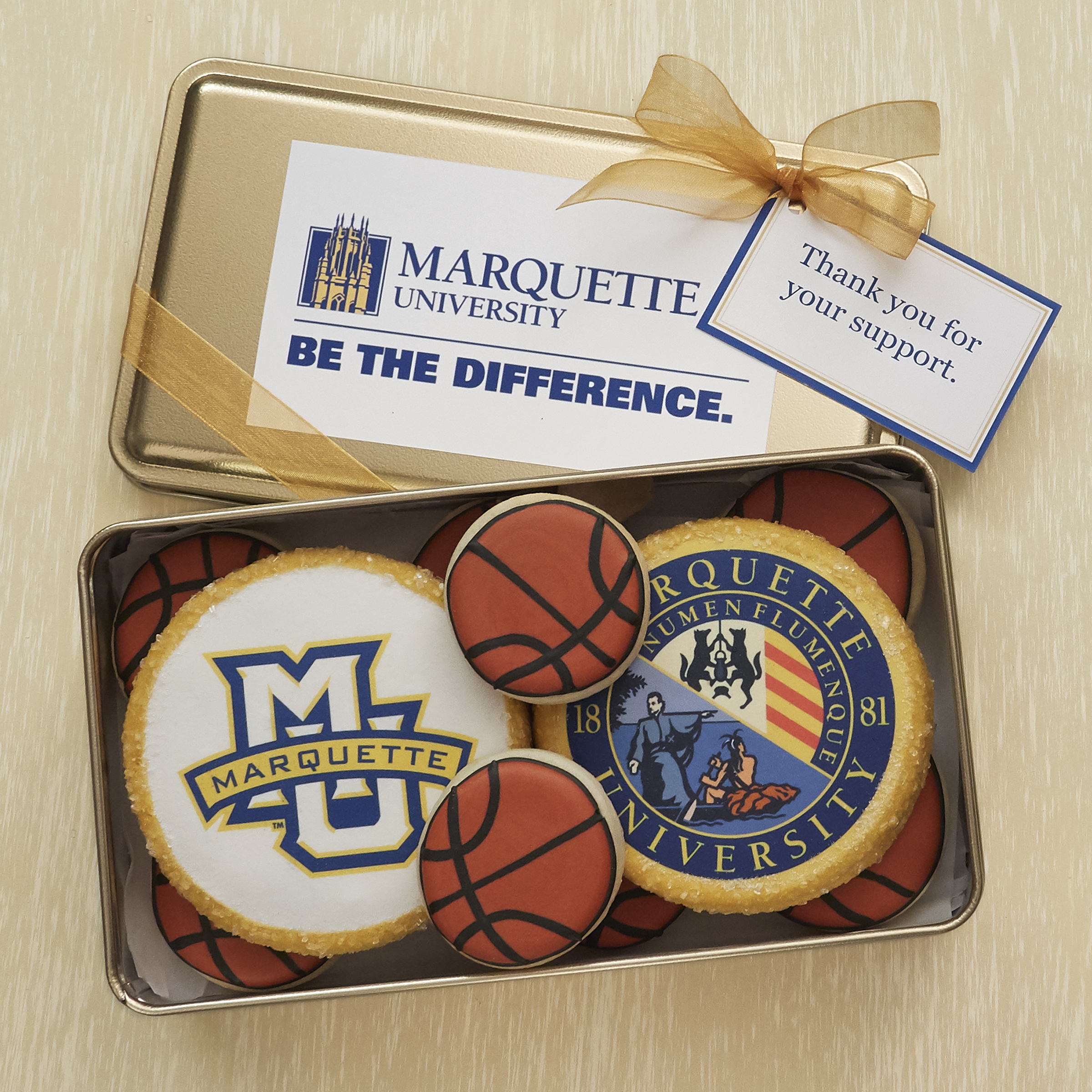 Our custom sugar cookies will make a long lasting impression when they arrive in their very own custom tin proudly displaying your logo.
