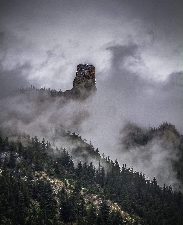 Pavilion chimney in the mist.