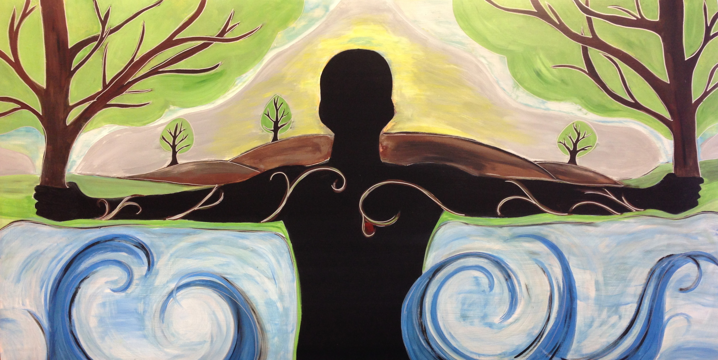 """This painting was inspired by a vision that was given to Apostle Todd many years ago. It depicts a man coming out of a river, arms outstretched, holding an oak tree in each hand. At the same time the painting began to come together, Stuart and I began to see several prophetic nuances unfold.                                  Normal     0                     false     false     false         EN-US     X-NONE     X-NONE                                                                                                                                                                                                                                                                                                                                                                                                                                                                                                                                                                                                                                                                                                               /* Style Definitions */ table.MsoNormalTable {mso-style-name:""""Table Normal""""; mso-tstyle-rowband-size:0; mso-tstyle-colband-size:0; mso-style-noshow:yes; mso-style-priority:99; mso-style-parent:""""""""; mso-padding-alt:0in 5.4pt 0in 5.4pt; mso-para-margin:0in; mso-para-margin-bottom:.0001pt; mso-pagination:widow-orphan; font-size:10.0pt; font-family:""""Times New Roman"""";}                The tree in the right hand is representative of the office of the apostolic, while the tree in the left represents the office of the prophetic. The roots of the trees are intertwined with the man as a way of showing both the apostolic and prophetic being birthed in his heart by the Spirit. He is bringing these trees to a hill country that is void of these two anointings. In doing so, the land will be complete, as the five-fold--apostle, prophet, pastor, teacher, and evangelist-- are planted together again a"""