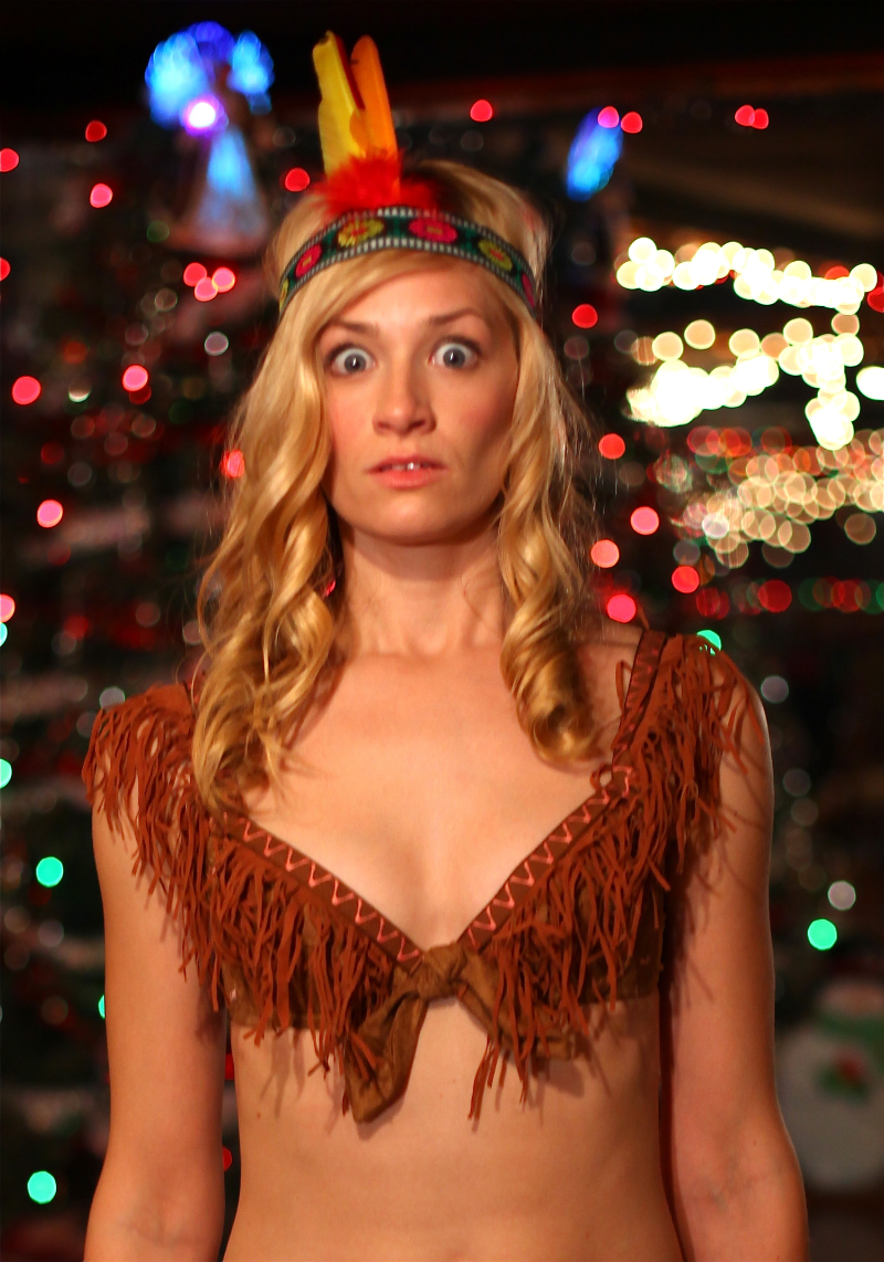 AlienGirl (Beth Behrs)  is a mysterious visitor to the land of apple-butter and peach preserves. She likes her liquor too.  (2 Broke Girls, American Pie: Book Of Love)
