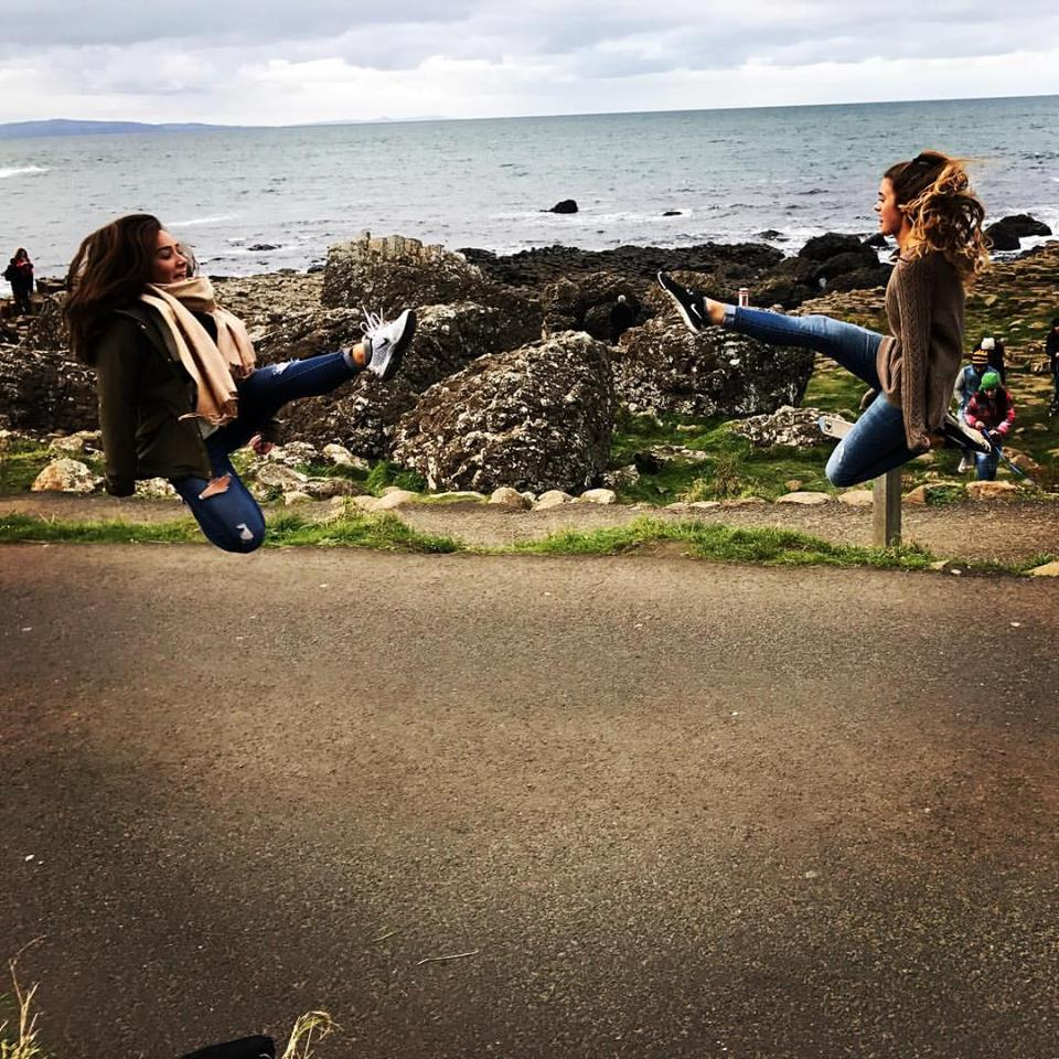 Margaret and Sarah jumping at the giant's causeway, n. ireland, 2016