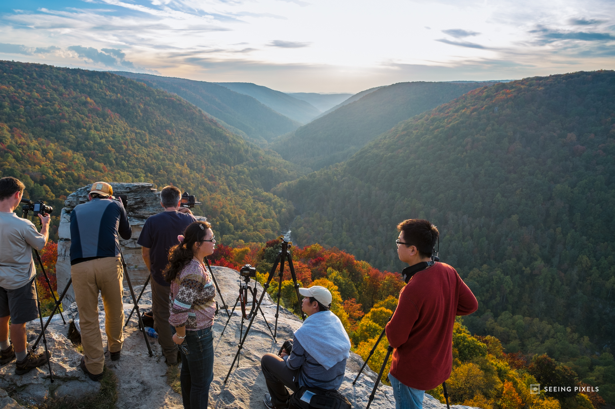 """Photographers waiting for the """"Big One"""". The wait for sunset, everyone patiently looking onward into the valley to see what the light has in store."""
