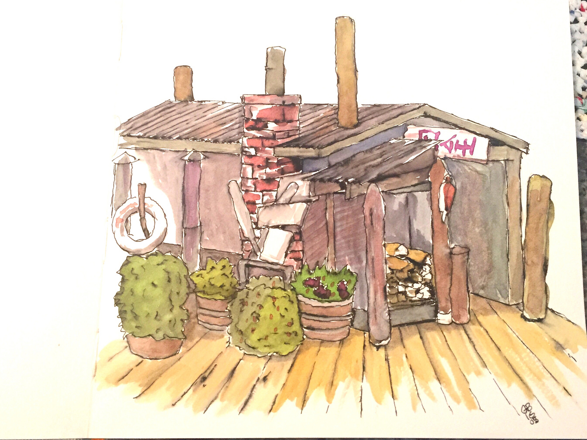 My first attempt. Just getting started with urban sketching and water colors. Made the mistake of using a water soluble fountain pen so my lines have bled.
