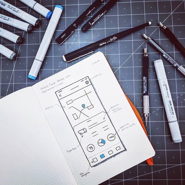 Working on a mobile app design using traditional mediums.  #ux #uxsketching #mobiledesign #penandink #copicmarkers #appdesign #productdesign #productdesigner