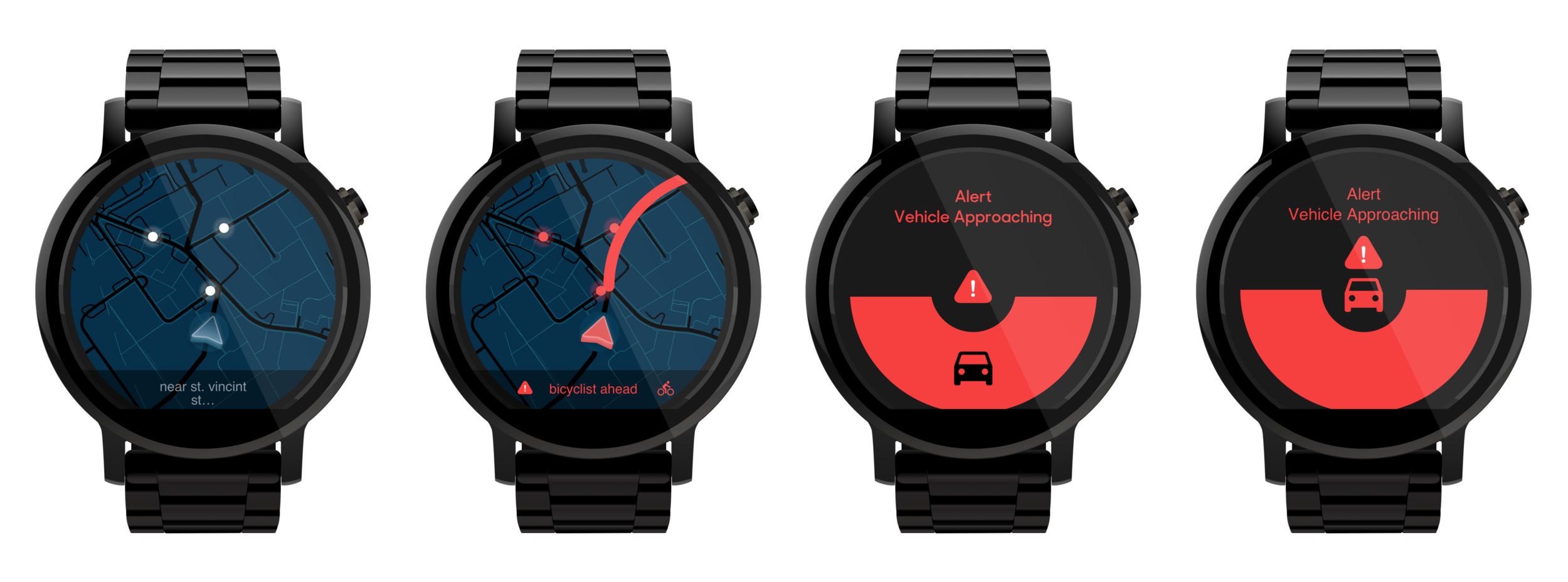 Androidware examples, demonstrating how the active safety feature could work across other wearable systems.