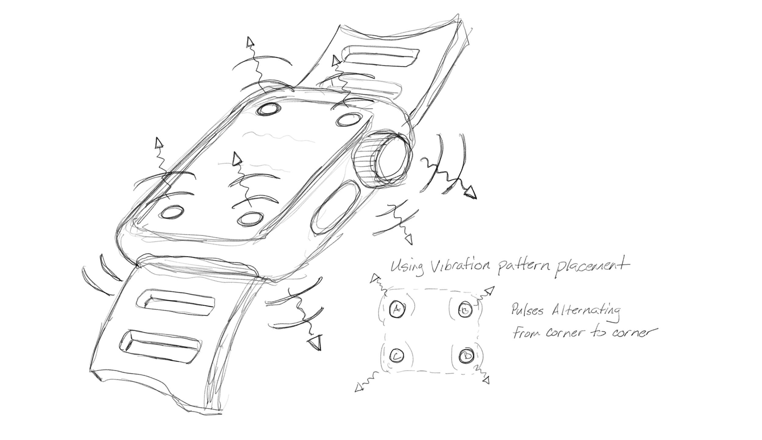 Concept sketches demonstrating ideas around the use of vibration patterns.