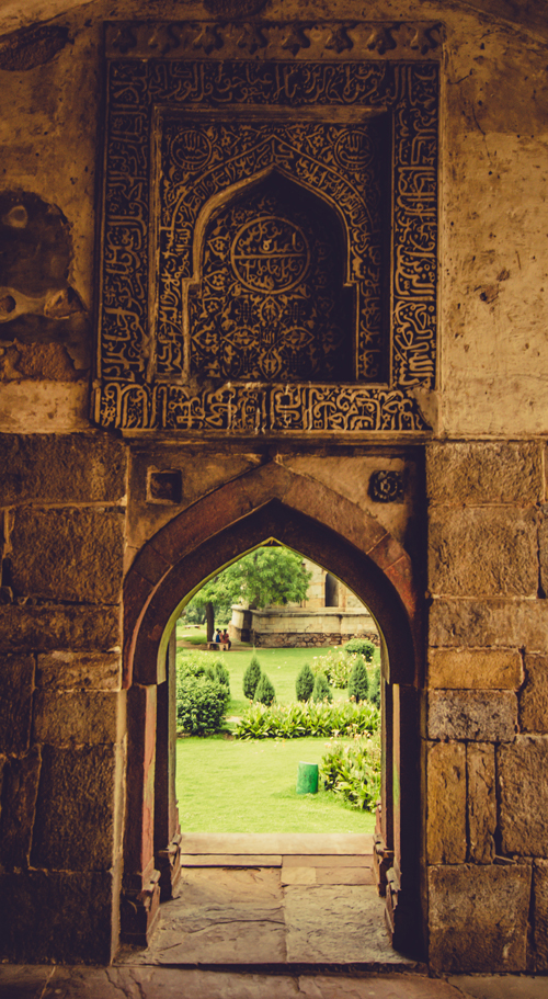 Bara Gumbad detail and view through to gardens