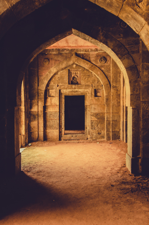 Inside guest house section of Bara Gumbad