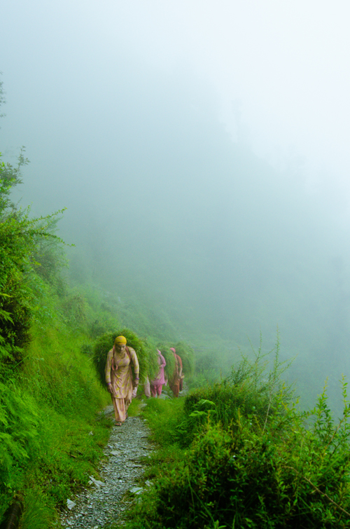 Women carrying loads of grass along the path that lead to the waterfall