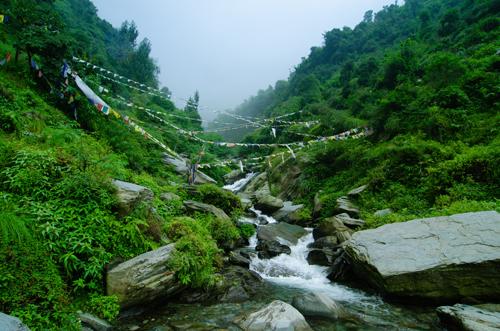 Near the top of Bhagsu waterfall