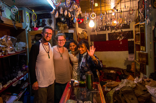 Ben, Mikayla, Pooja and Meena in her shop