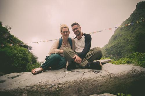 Ben and Mikayla on top of the waterfall in Bhagsu
