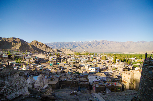 View of Leh, with deteriorating structures of Old Town in the foreground
