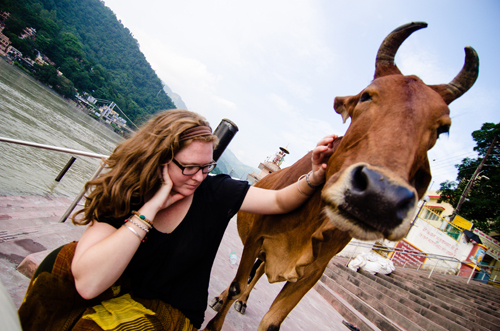 Mikayla made a friend at the ghats