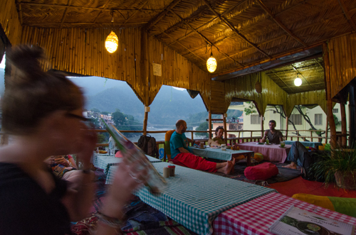 Krishna Cafe, over looking the Ganges - a typical evening in Rishikesh
