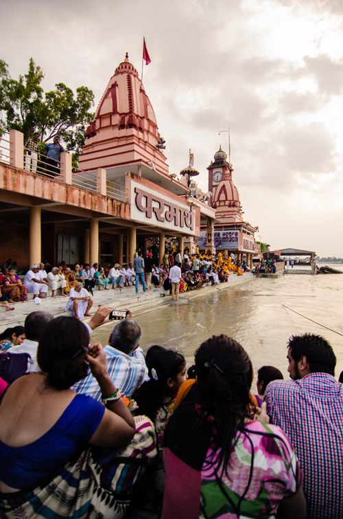 On the ghats at Parmath Niketan ashram, awaiting the start of the Aarti