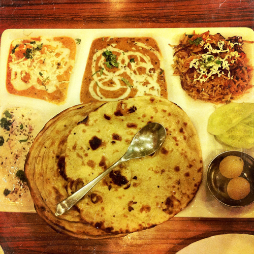 Thali at a delightfully air-conditioned restaurant off Main Bazaar