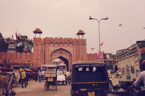 The pink walls and gate leading in to the 'old city' of Jaipur