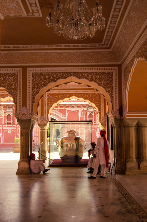 Inside Diwan-i-Khas with view of one of the two silver jars (the largest silver objects in the world) that Madho Singh II took with him on a trip to the England in 1902, full of water from the river Gangas to keep him pure during his time abroad.