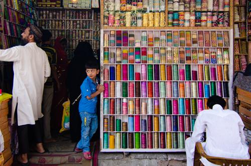 A bangle store on the street below Hawa Mahal