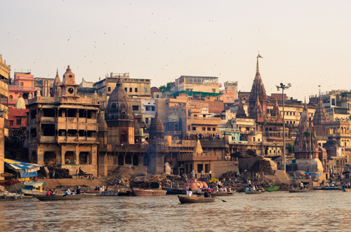 Marnikarnika (Cremation) Ghat from a distance (photos are not appropriate close to this ghat for obvious reasons)