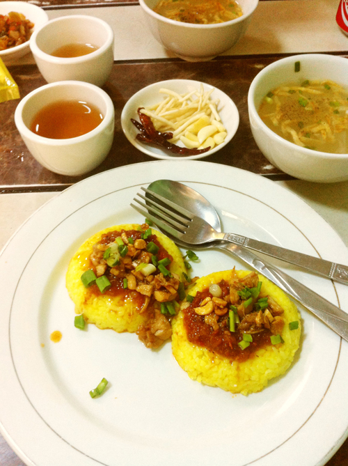 Yellow rice and tomato chutney