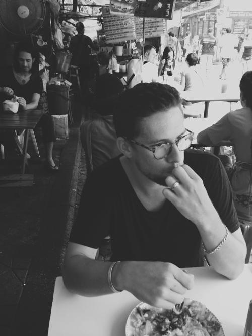 Ben munching on a prawn