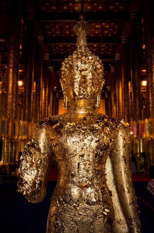 Gold leafed Buddha atWat Chedi Luang