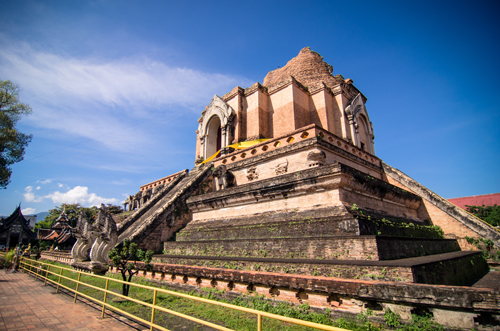 The ancient Lanna stupa dating 1441 in the middle of Wat Chedi Luang