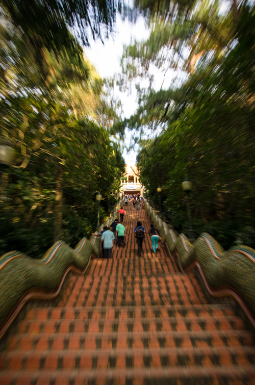 The steep staircase leading to Doi Suthep, a monastery hidden high in the hills overlooking Chiang Mai