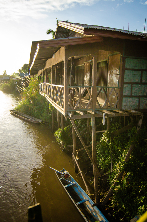 Bungalows and restaurants line the river of Don Det (the main backpacker island).