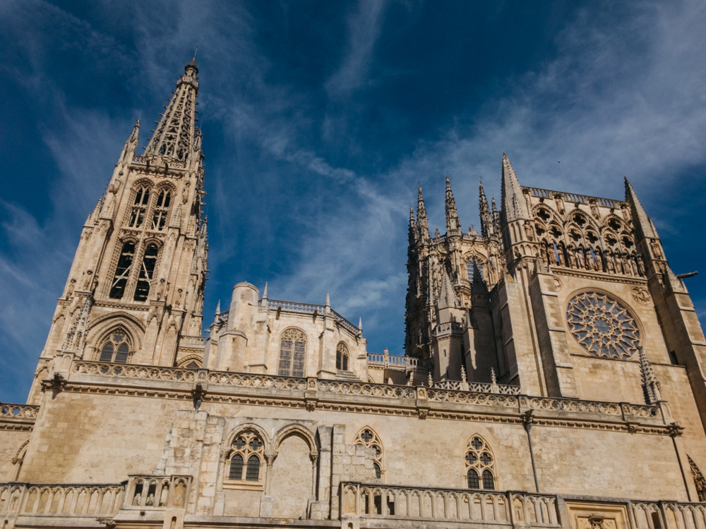 The massive Burgos cathedral (1221-end 13th century), built over the remains of an old Romanesque temple