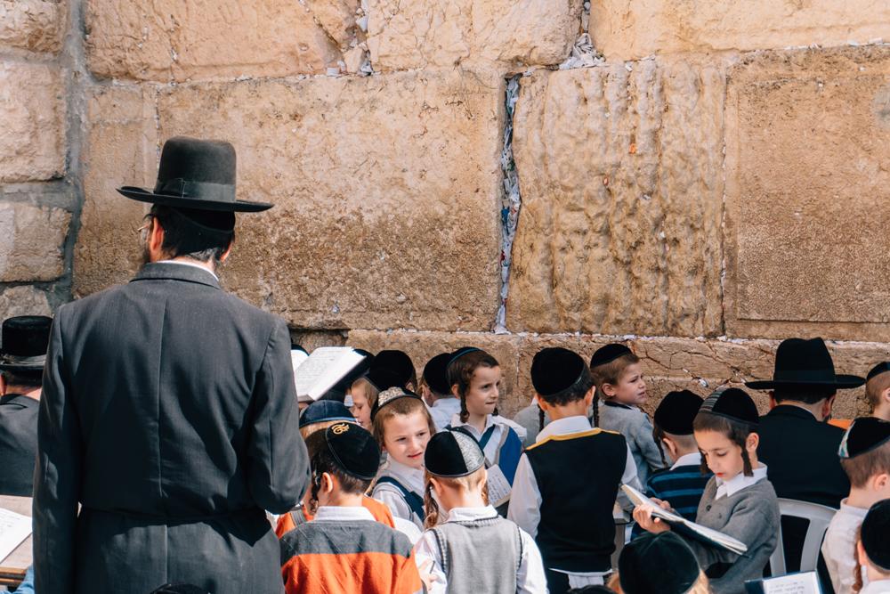 School boys at the Western Wall