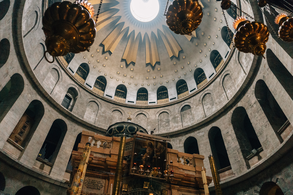 The oculus above the tomb of Christ, inside the Church of the Holy Sepulchre