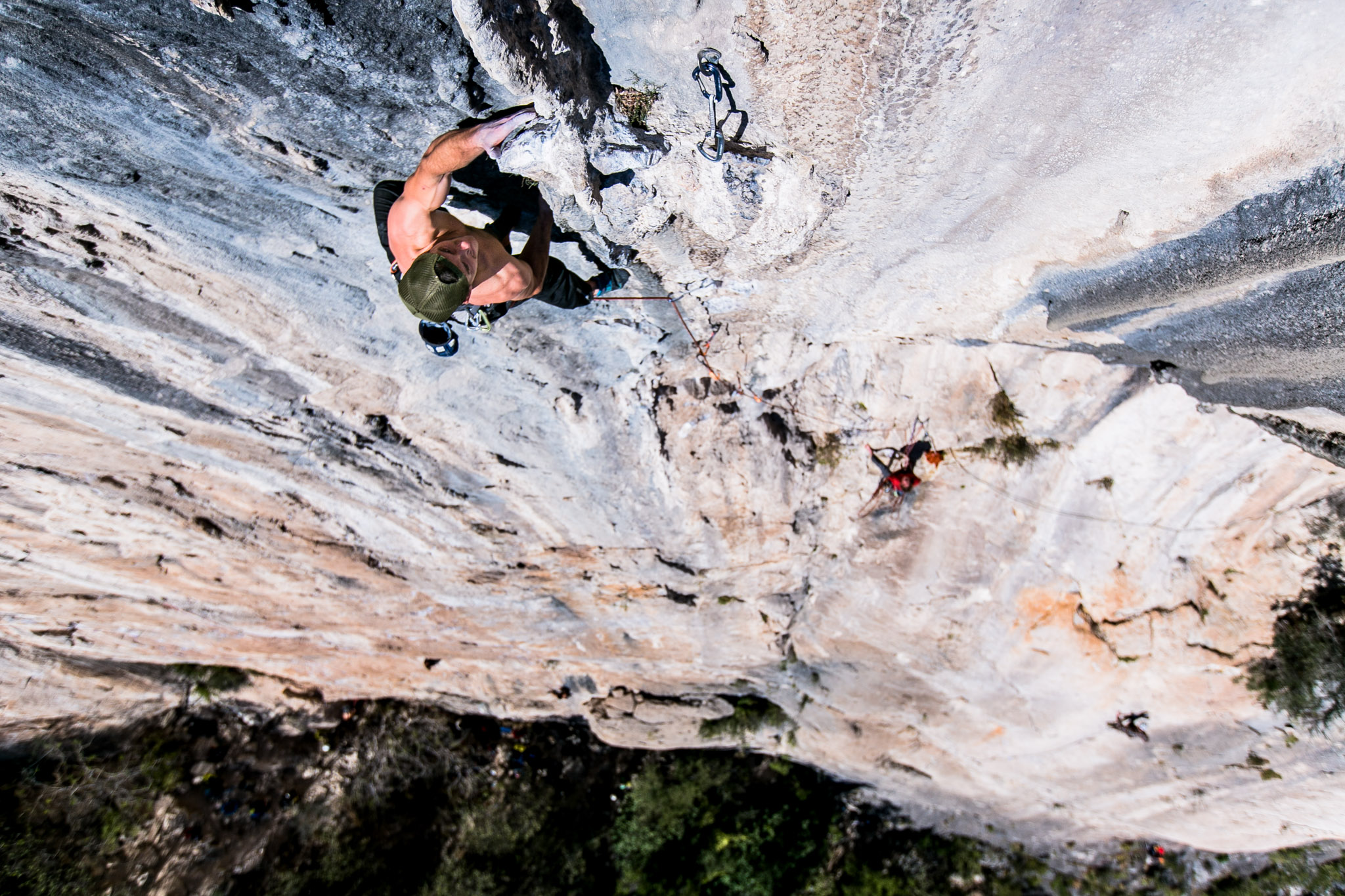 Sean, pulling on tufas on the classic Celestial Omnibus, 5.12a.