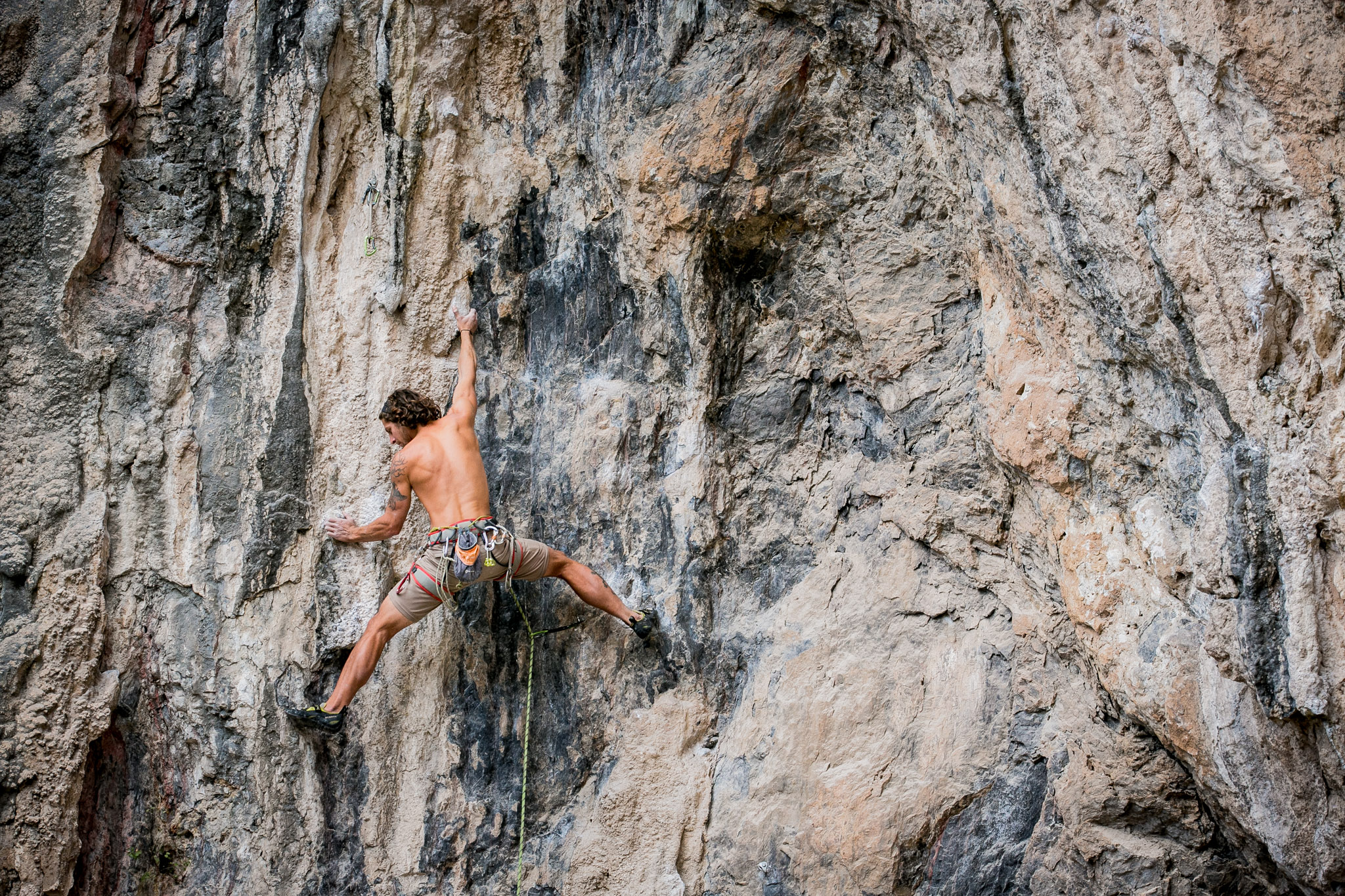 Wade tackling the classic line Bluefin, 5.12a, at The Surf Bowl.