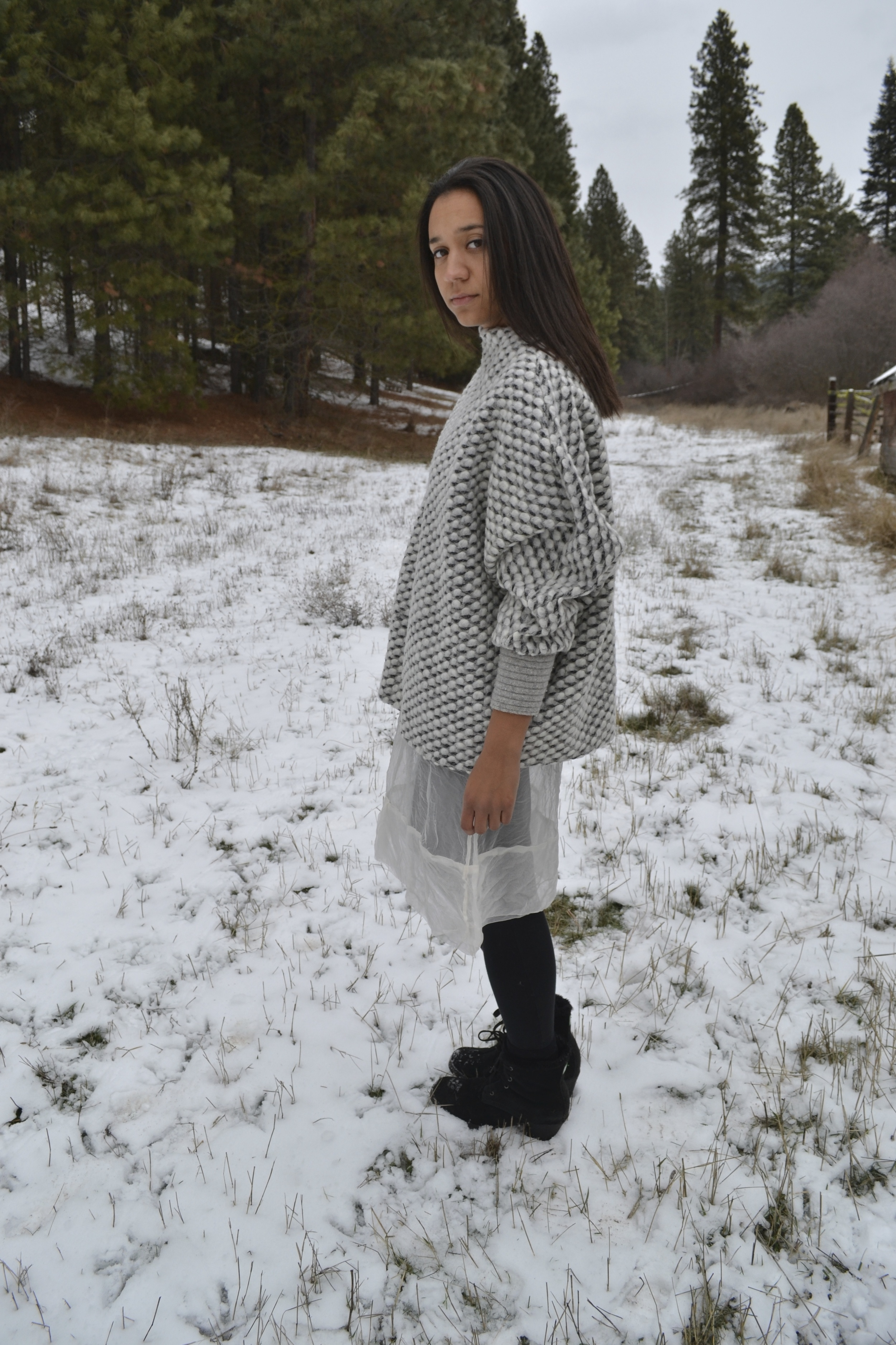 Italian wool sweater knit. Oversized, batwing design. there are three...225.