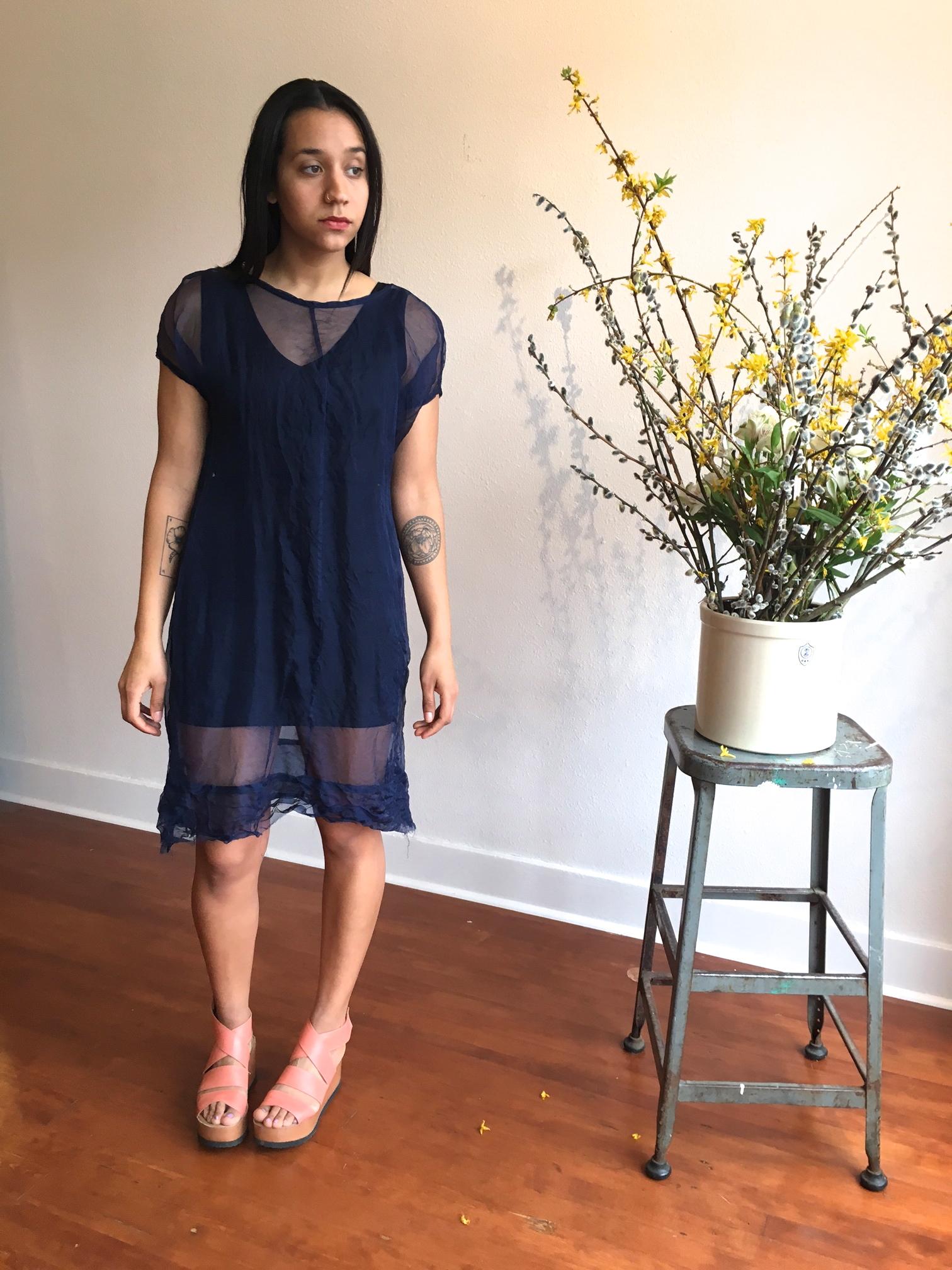 Midnight Blue Silk Organza Tunic dress 185.00
