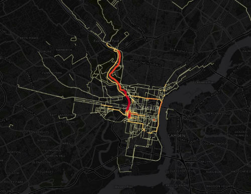 DVRPC CyclePhilly - Map of Popular Cycle Route