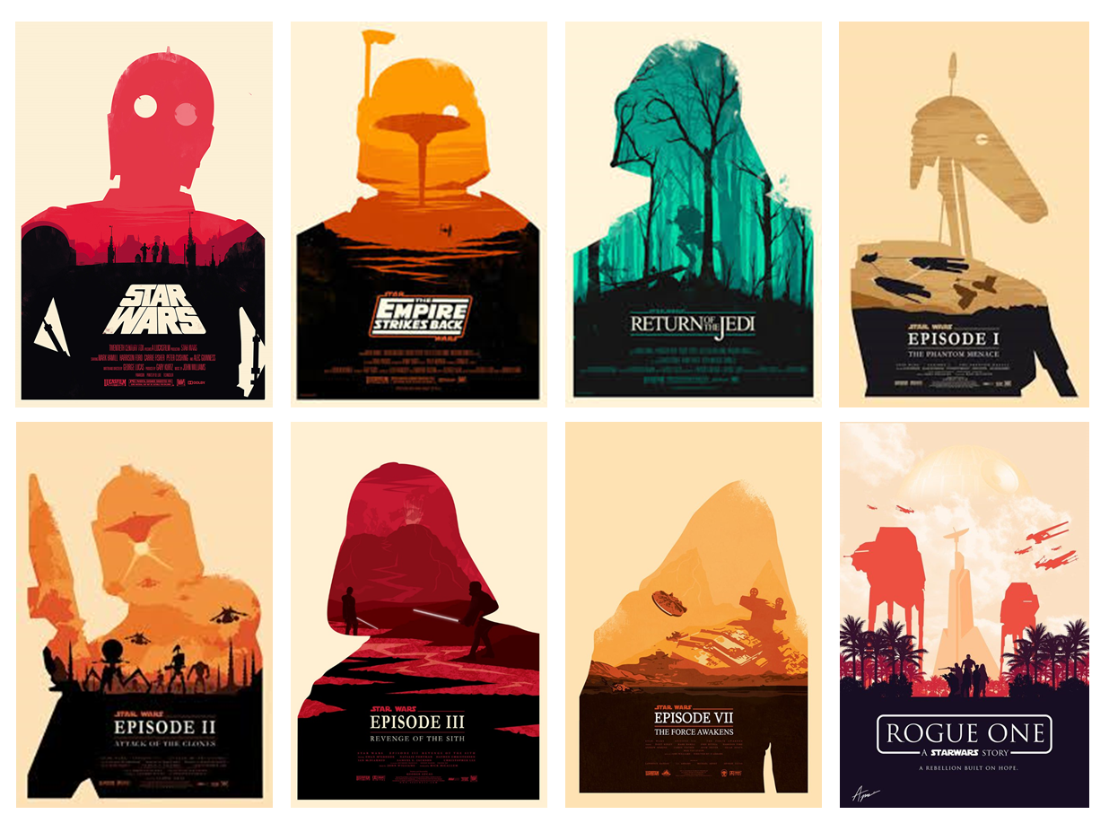 SOURCE: Posters for  Episodes 1 -7  Designed by Olly Mossy— HTTP://OLLYMOSS.COM/ | Poster for  Rogue One designed by Alexander Perez— https://www.behance.net/gallery/47729655/Minimalist-Rogue-One-Poster