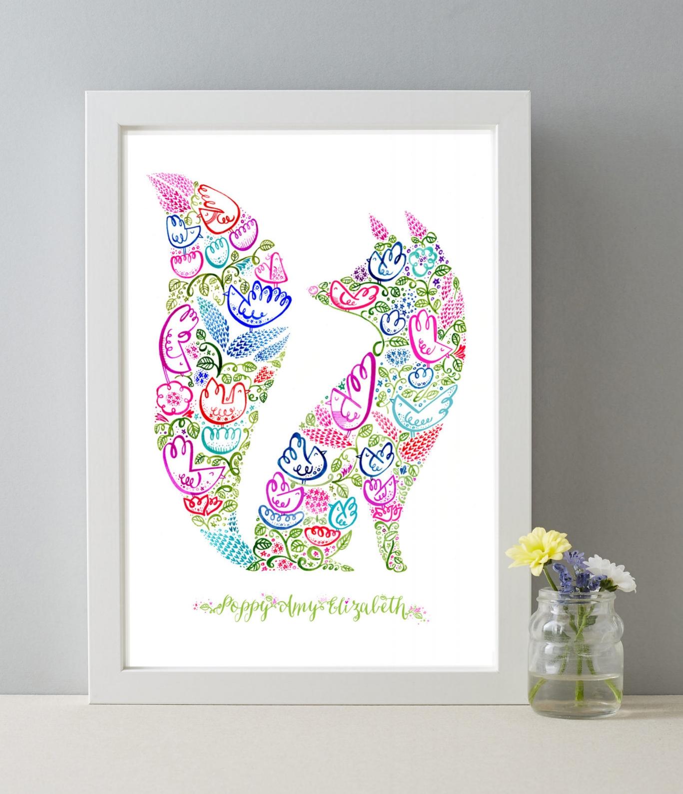 personalised fox white framed.jpg