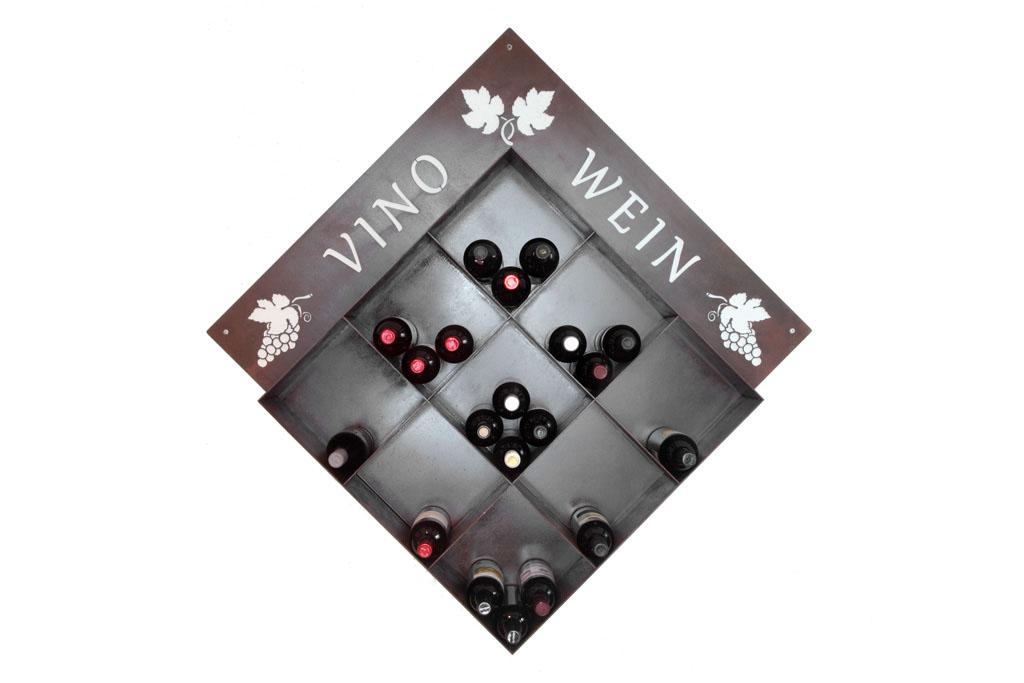 Weinstellage aus Corten, ohne Weinflaschen -   Mensola per vino in corten, senza bottiglie   Maße -  misure :  100,0 x 125,0 x 20,0 cm, € 479,00